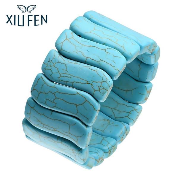 XIUFEN мода ювелирные изделия Богемный стиль большой заявление браслет ширина Синий Камень браслеты браслеты для женщин ZK30