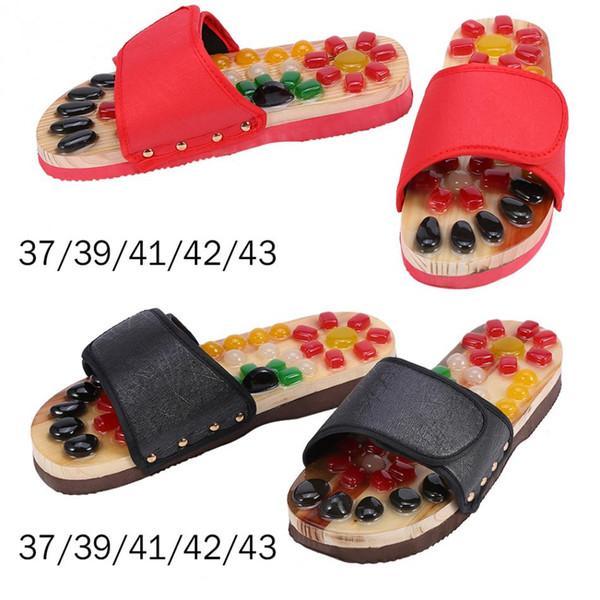 Paar Fußmassage Hausschuhe Mit Kieselstein Reflexzonenmassage Gesundheitswesen Blutaktivierende Akupunktur Schuhe Massagegerät Hausschuhe