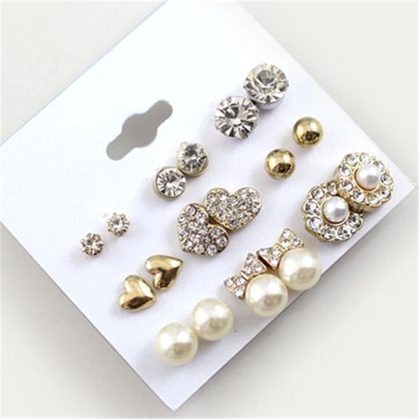 9 pairs / set earring Fashion Elegant Shining gold Color heart crystal pearl Flower earrings Cute Super Value earrings sets