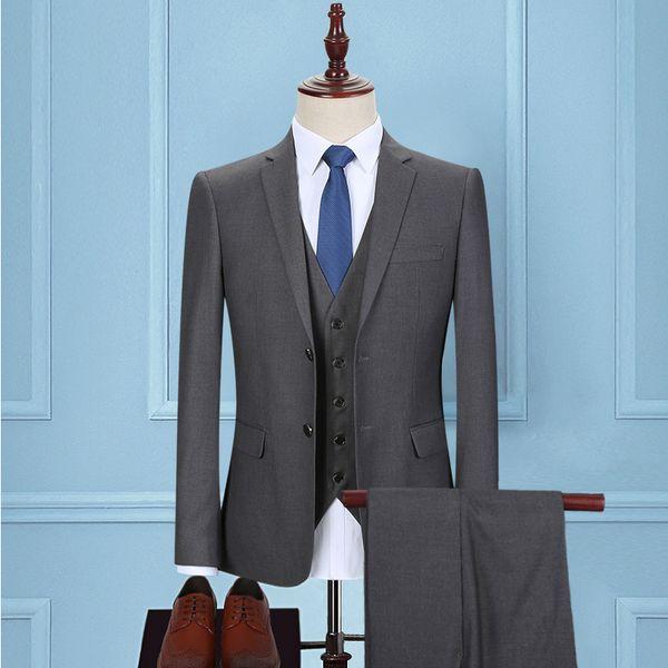 2017 New Retro Grey Herringbone Tweed British style custom made Mens suit tailor slim fit Blazer wedding suits for men 3 piece
