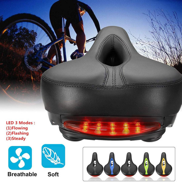 Breathable Bicycle Saddle with LED Taillight Professional Road MTB Gel Comfort Bike Seat Safety Shockproof Cycling Cushion Pad