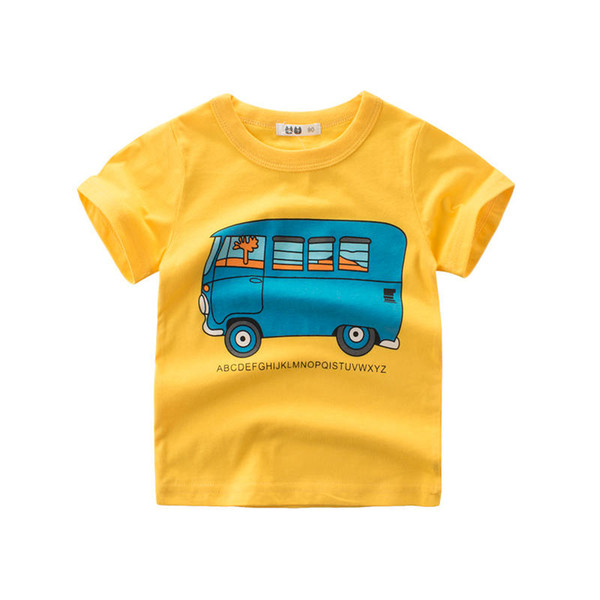 Toddlers Kids Boys Casual T-shirt Cute Cartoon Car Printed Tops Breathable Cotton T-shirt Short Sleeve Round Neck Tops Clothing