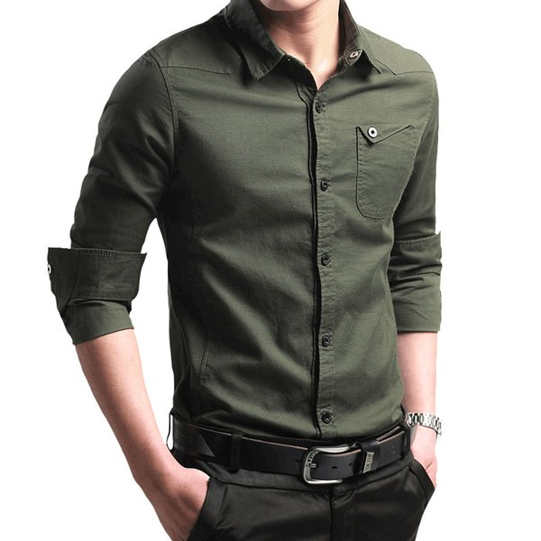 Long Sleeve Men Casual Wear Shirts Army Green with Buon Solid Color Tops Business Fall Fashion Office Work Clothes Shirt