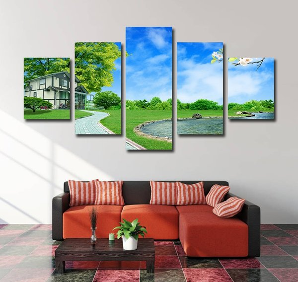 No Frame 5 Pieces Wall Art Green Tree Grassland House and Lake Printed Painting On Canvas Lavdscape Poster for Home Decor Living Room