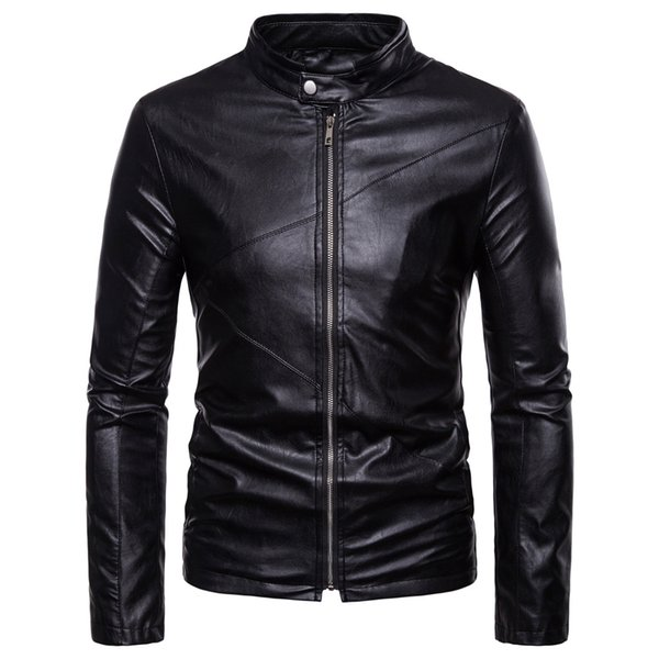 2018 winter men's PU jacket coat classic leather motorcycle leather jacket leisure clothing Plus sizeM-XXL Stand collar