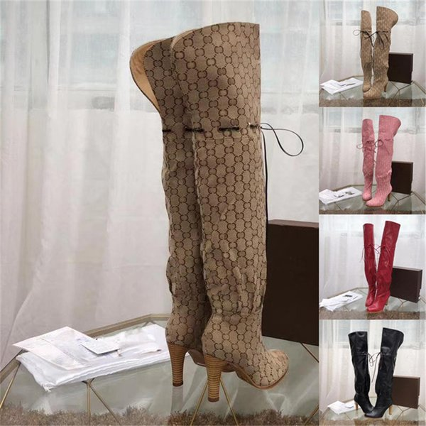 "3.5"" Heel Original Canvas Over The Knee Boot Luxury Brand Boots Booties Beige/Ebony Hibiscus Leather Cinched Self-Tie Detail Shoes 0G011"