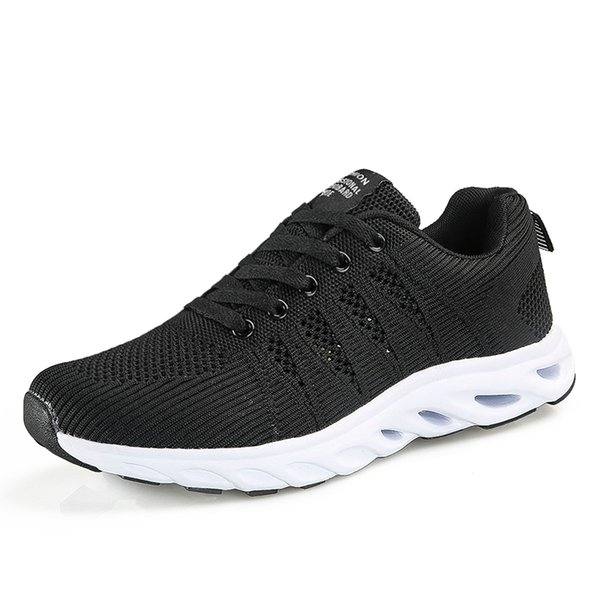 New Flying Mesh Sneakers for Men Women Lovers Sport Running Shoes Breathable Couple Anti-slip Tennis Shoes Black Jogging Flats