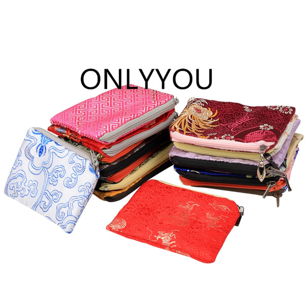 Small Chinese Silk Pouch Bag with Zip Brocade Jewelry Pouch Cute Coin Purse Party Favors Christmas Gift Card Holder Packaging Bag 10pcs/lot