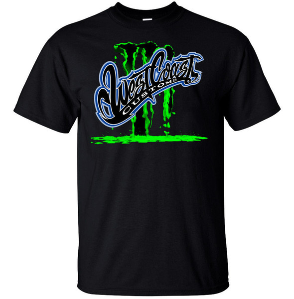 WCC WEST COST CUSTOM VEHICLE T-SHIRT T shirt Men Black Short Sleeve Cotton Hip Hop T-Shirt Print Tee Shirts