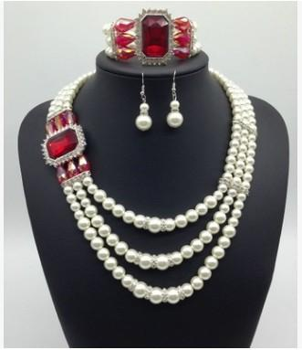 wonderful natural pearl diamond lady's necklace earings set (19) cvbxcvf