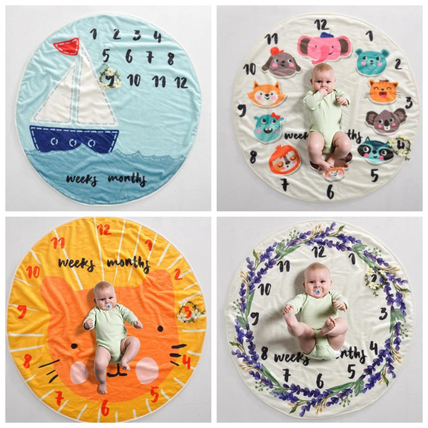 Kid Circular milestone Blanket photography background props Blankets infant Swaddling flower number letter newborn baby wraps GGA409 6PCS