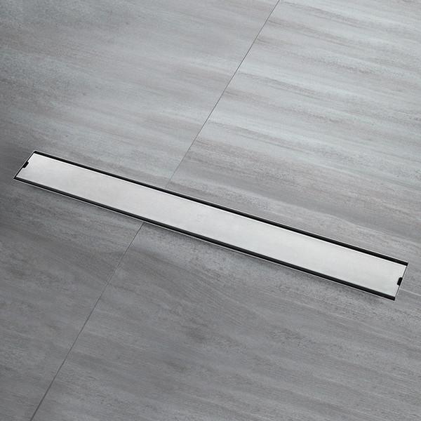 top popular 304 Stainless Steel Bathroom Kitchen Floor Drain 100cm Grates Waste Linear Shower Drain 80cm Insert Long Floor Drains Brushed 2021