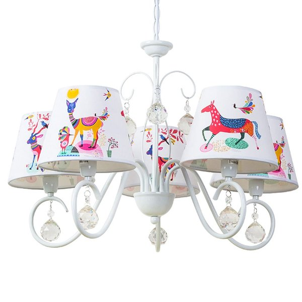 OOVOV Child Room Cartoon Crystal Chandelier,White,Iron,Cloth,For Kids Room Baby Room Bedroom Pendant Light Lamp