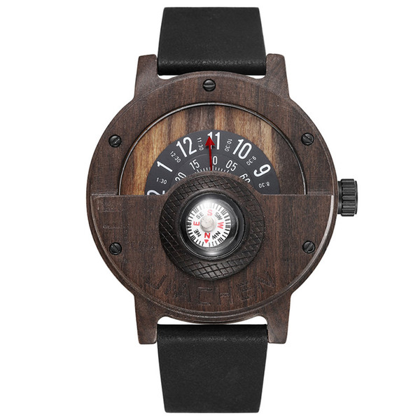 Unique Wood Watch Men Women Fashion Quartz Clock Compass Half Dial Natural Wooden Wristwatch Luxury Analog Wooden Watch Male