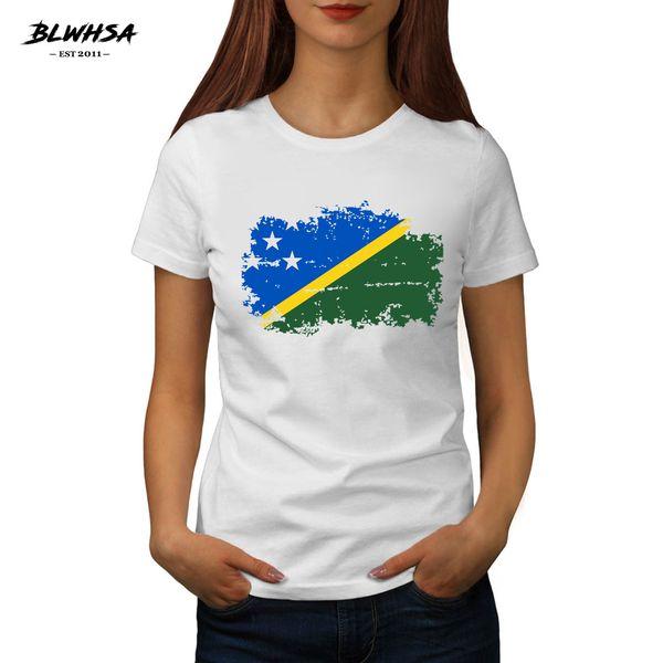 Women's Tee Blwhsa Solomon Islands Flag Printed T Shirt Women Casual Cotton Hip Hop T-shirts Summer Solomon Islands National Flag Women Tees