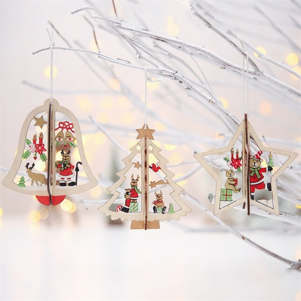 3d Hollow Out Carving Wooden Christmas Tree Pendant Xmas Home Festival Ornaments Three Dimensional Crafts Gift Decoration 2 5hb hh