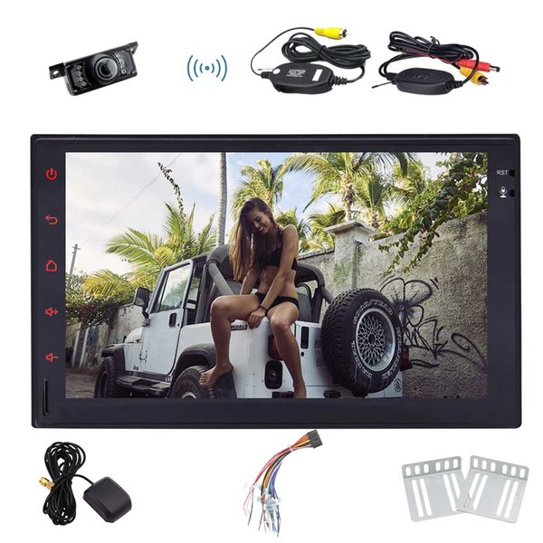 7'' Car Stereo Android 7.1 Quad-Core Double Din GPS In Dash Navigation Auto Radio Car Receiver WiFi/1080P Video/Mirrorlink/OBD2/Steering