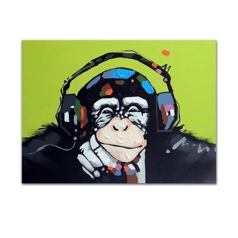 Framed Monkey Chimp Earphones Music,Genuine Hand Painted Modern Cartoon Animal Pop Art oil Painting On Canvas Museum Quality Multi size J066