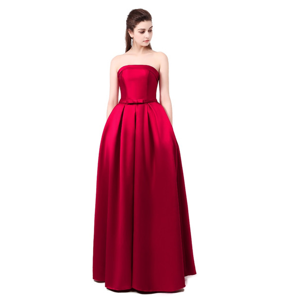 Vestido Formal Bridal Strapless Sleeveless Wine Red Danni Slim Long Prom Dress Custom Party Formal Evening Gown
