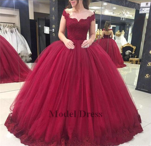 2019 Ball Gown Quinceanera Dresses Capped Tulle Floor Length Lace Appliques Sweet 16 Dresses Girls Pageant Dresses for Prom Party