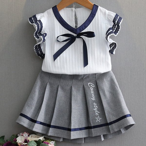 girls sets 2018 new summer children's clothing girls lace bow v-neck + college wind pleated skirt suit