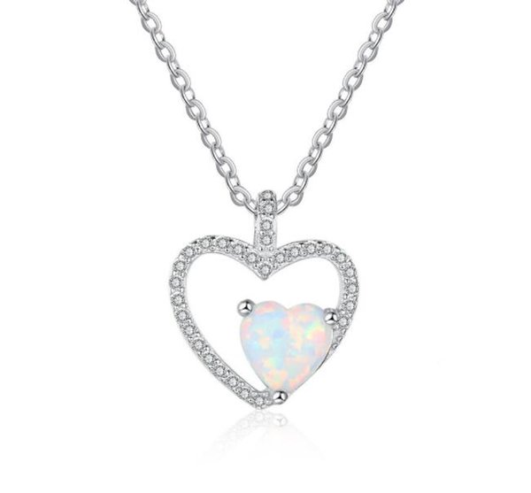 Top fashion jewelry 925 sterling silver opal necklace 3A cubic zirconia pendant with cross chain free shippping cost