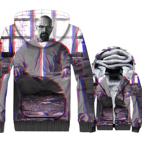 2018 inverno jaquetas de alta qualidade quente forro de lã marca tracksuits Breaking Bad sportswear casacos homens impresso hoodies com capuz 3D