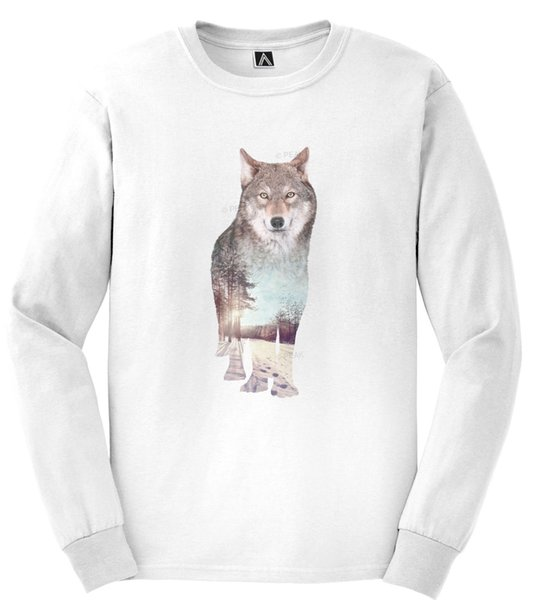 Wolf Nature Tshirt Long Sleeve Winter Snow Mountain Hills Animal Forest Top