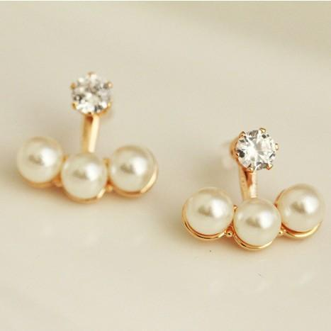 2018 New Hot !!! Fashion Fine Jewelry Wholesale Dazzling Shine Rhinestones Pearl Light Neckband Stud Earrings For Women E-193