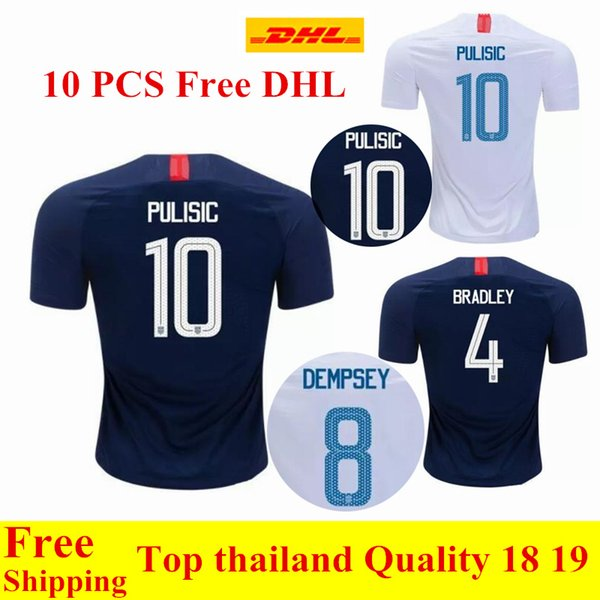 wholesale 10 PCS Free DHL Thai quality 2018 2019 USA jerseys PULISIC Soccer Jersey 18 19 DEMPSEY BRADLEY ALTIDORE United States Shirt
