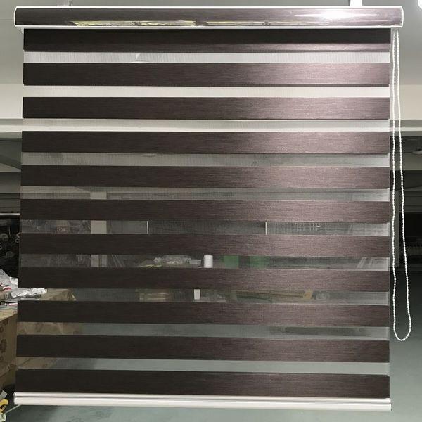 Zebra-Jalousien Horizontaler Fensterladen Doppelschicht-Rollos Fenster Maßgefertigte dunkelbraune Vorhänge für Wohnzimmer