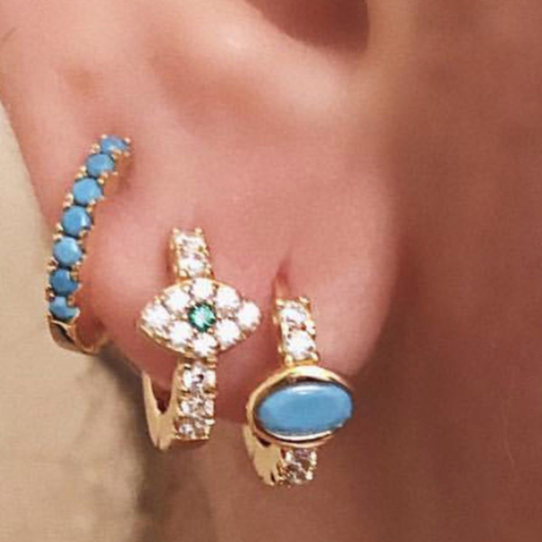 cead2a607 BLUE turquoise gemstone hoop earring small dainty hoops cz round circle  minimal delicate women girl gift