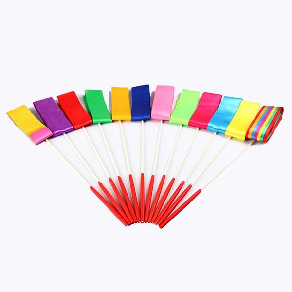 Free Shipping 4M Multi Colors Gym Dance Ribbon Rhythmic Art Gymnastic Streamer Twirling Rod Stick LX2794