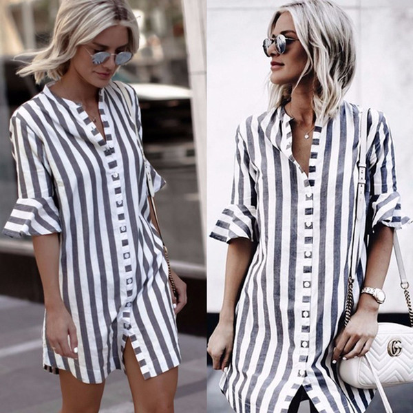 LDZHPS 2018 Sommer neue gestreifte gerade Hemd lässig Knopf V-Ausschnitt halbe Langarmshirts Vintage Flare Ärmel Bluse Y1891107