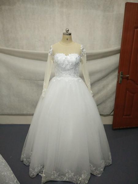 Elegante Langarm-Spitze A-Linie Brautkleider Frauen Weiß Bodenlange Brautkleid Illusion Zurück-Tasten Brautkleider mit kostenlosem Petticoat