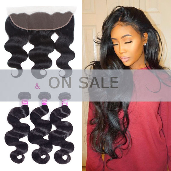 Chinese Virgin Human Hair Bundle Weaves Closure Body Wave 4Pcs/Lot Chinese Hair Body Wave with 13x4 Lace Frontal Closure Baby Hair