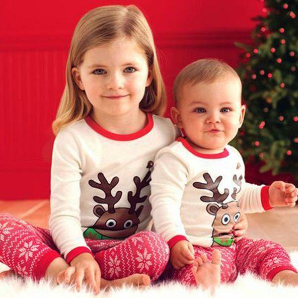 Baby-Weihnachtskleidungs-Satz-Kinderelch-Streifen-Pyjama-Satz-Baumwollkarikatur-Streifen-lange Hülse + Hosen 2pcs Kinder Christams-Ausstattungen
