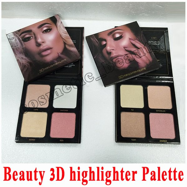 Beauty 3D Highlighters Beauty eyeshadow highlighters golden sands and pink sands 4 Color highlighters palette Promotion Sale