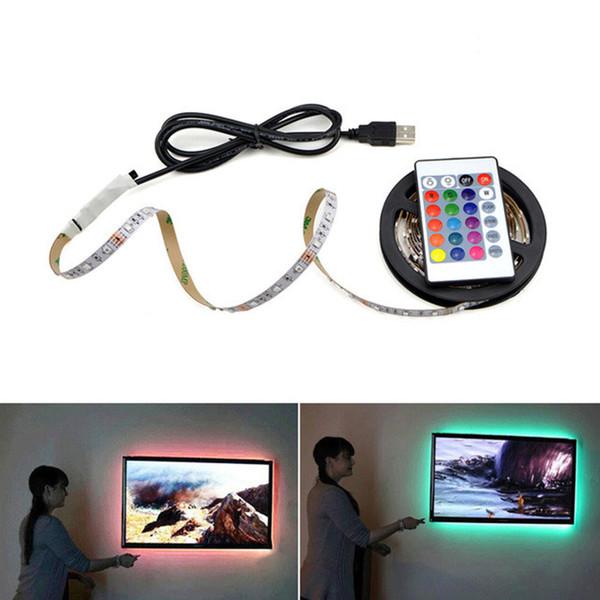5 V USB LED Şeritler 1 M 2 M 3 M 4 M 5 M SMD3528 RGB SMD5050 Araba Bilgisayar TV için Su Geçirmez Esnek LED Bant Işıkları TV Arka Plan Aydınlatma