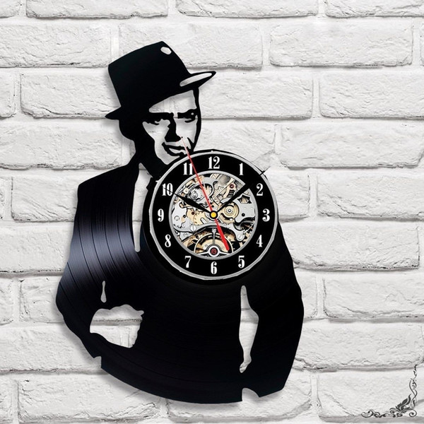 Frank Sinatra Vinyl Record Wall Clock Home Decor Fan Art Decor Vintage Wall Art The Best Gifts For Mansize 12inch Color Black Kitchen Wall Clocks