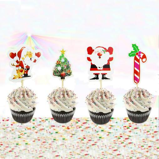 720pcs/lot Christmas Theme Christmas Tree Cartoon Cupcake Topper Picks Kid Birthday Party Decorations Evnent Party Favors