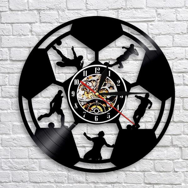 1Piece Soccer Clock Vinyl Record Wall Clock Modern Design Football Sprot Theme Wall Art Decor Housewarming Gift For Soccer Fans