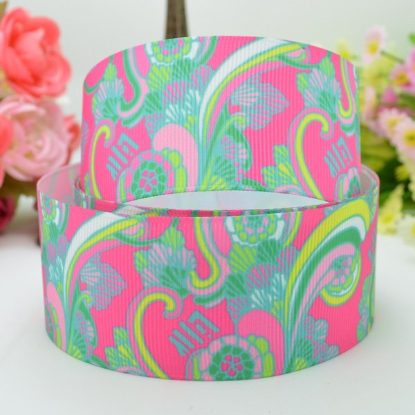 "Lilly Ribbons 1.5"" 38mm Flowers Printed Grosgrain Ribbon DIY Baby Hairband Bow Ribbon Hair Accessories 50 Yards"