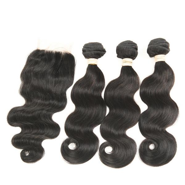 Brazilian Hair Body Wave Bundles with 4*4 Lace Closure or 13*4 Lace Frontal Brazilian Peruvian Indian Virgin Human Hair Extension