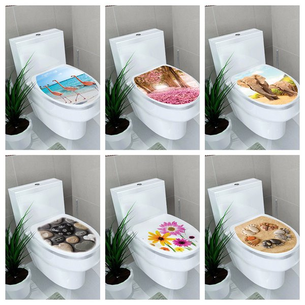 Superb Pvc Creative 3D Stickers On The Toilet Seat Nordic Style Flamingo Pebble Wall Stickers Kitchen Home Bathroom Decorative Decals Removable Wall Decal Short Links Chair Design For Home Short Linksinfo