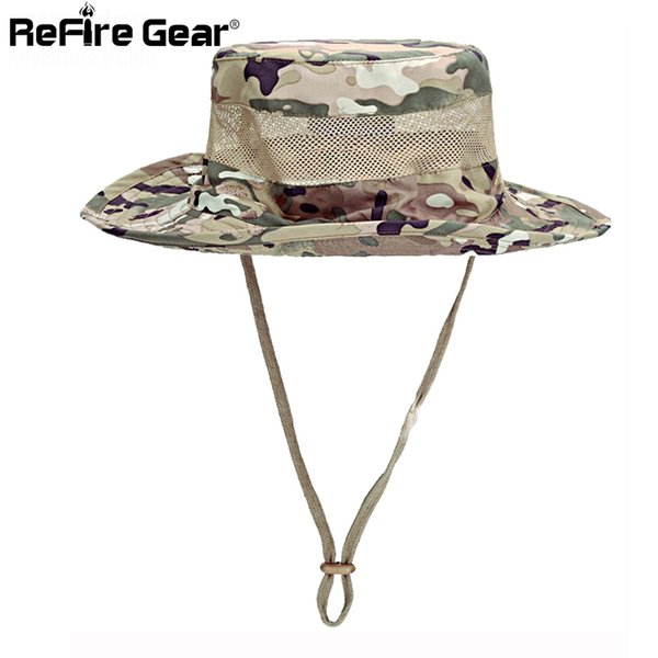 Summer Tactical Army Camouflage Boonie Hats Men Quick Dry Breathable Mesh Multicam Camo Cap Casual Paintball Military Bucket Hat