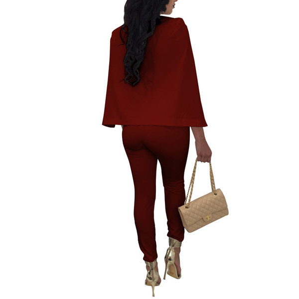 NEW Office Party Lady EleJumpsuit Rompers Sexy Deep V Neck Button Full Length Cape Cloak Jumpsuit Women Overalls Plus Size