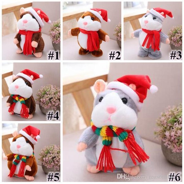 16cm/6 inch Hamster Plush Party Gift Toys Cartoon 6 Styles Can Talk and Nod Hamster Stuffed Animals for Baby Christmas