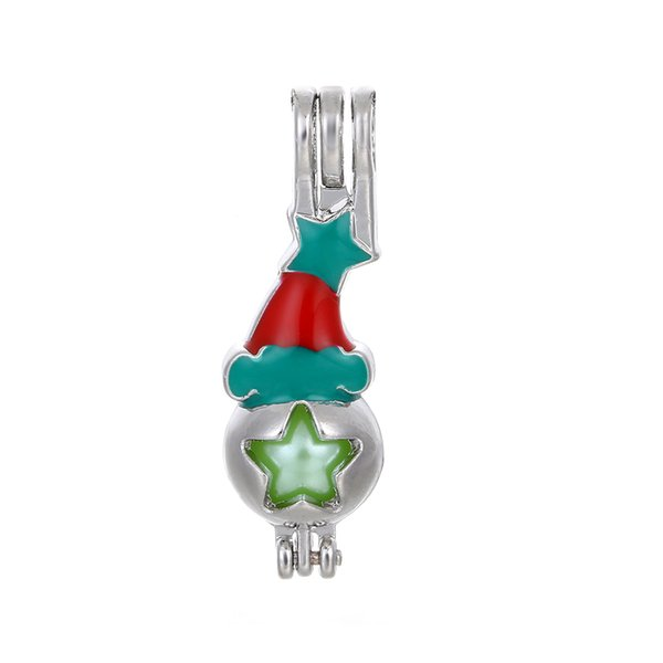 10pcs Colorful Enamel Christmas Hat Pearl Cage Essential Oil Diffuser Locket Pendant DIY Jewelry Making for Oyster Pearl Gifts