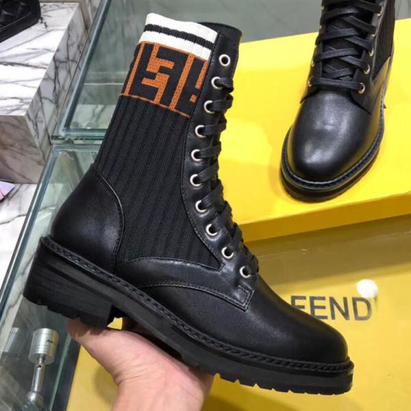 Hiver femmes imperméable à l'eau en plein air bottes de marque de designer en cuir véritable chaud tricoté chaussettes occasionnels Martin bottes de randonnée chaussures de sport taille8.5